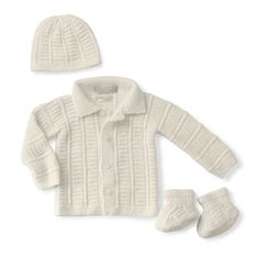 Curly Whirly Layette  Hand knit cashmere hat, cardigan and slippers (lined with shearling!)  http://bit.ly/1uC8KvX