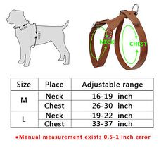 Didog Brown Handmade Genuine Leather Pet Dog Harness for Medium Large Dogs