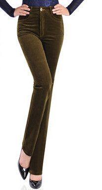 Plus size corduroy casual pants women full length high waist autumn spring winter new arrival slimming 7 colour cotton jmj0501