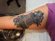 Vintage camera tattoo by Garrett Duffin
