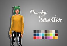 Slouchy SweaterAn edit of the sweater from Spa Day stuff pack to be more baggy. It has some clipping in the thigh, I tried to fix it as much as I could. Let me know if there's any major problems! • T-E Female • Recolor/retexture allowed (you can...