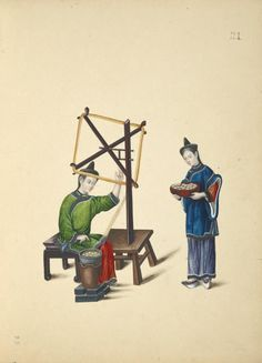 [Two women at a spinning wheel [?] making a skein of silk.]  One from a series of Chinese paintings depicting life and culture. undated