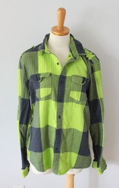 All Son lime green navy plaid Flannel Shirt Men L lumberjack punk grunge F7 #AllSon #ButtonFront