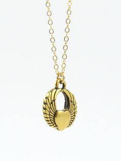 Soaring Heart Charm Necklace Gold Charm Necklace by LeCharmerie, $21.50