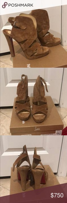 935aac14f03 Christian Louboutin Sandals Beautiful suede apron Lulu veau velours. 120 mm  Heel. Only worn