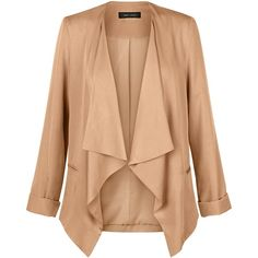 New Look Camel Waterfall Blazer ($17) ❤ liked on Polyvore featuring outerwear, jackets, blazers, camel, red blazer jacket, red blazer, camel jacket, pocket jacket and open front blazer