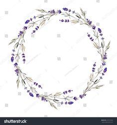 wreath, lavender, watercolor