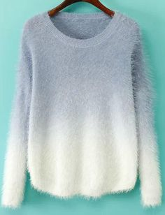 Purple Ombre Long Sleeve Mohair Sweater 22.67