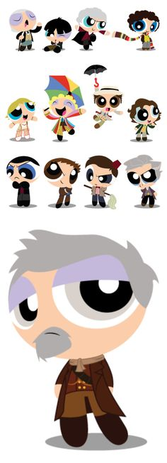Every Doctor From 'Doctor Who' Drawn in the Style of 'The Powerpuff Girls'
