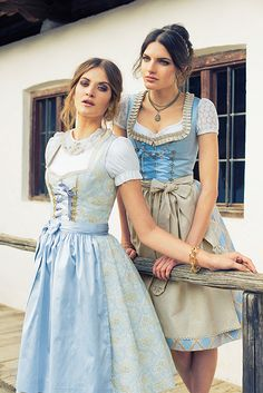 Dirndl Outfit - Bavarian/Austrian Traditional Female Peasant Clothing during the and Centuries. Later the Austrian upper classes adopted the dirndl as high fashion in the Drindl Dress, The Dress, Fashion Mode, Fashion Outfits, High Fashion, Fashion Trends, Peasant Clothing, Oktoberfest Outfit, German Fashion