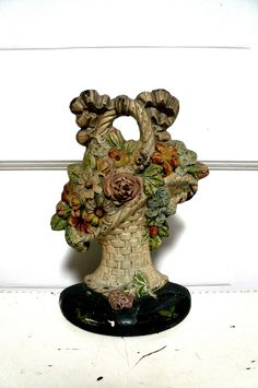 Antique Cast Iron Doorstop Flower Basket Early by LunaParkVintage.
