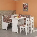 Conjunto Para Sala De Jantar Canto Alemão Com Mesa E 2 Cadeiras Branco/Floral - Móveis Canção