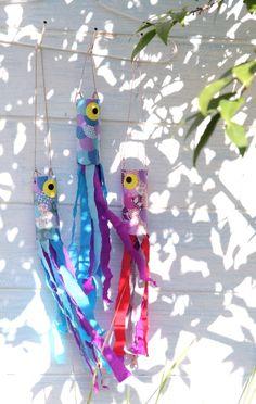 Windspiel, Glückskarpfen, Krepp-Papier, Toilettenpapier-Rolle, Sommer,