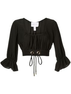 Alice Mccall Gathered Cropped Blouse In Black