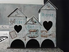 """""""Olde Tea House"""" a house-like tea bag holder decorated with decoupage,  stencil and stamps"""