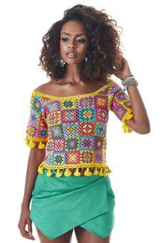 Armarinho São José: Blusa Colorida em Squares de Crochê