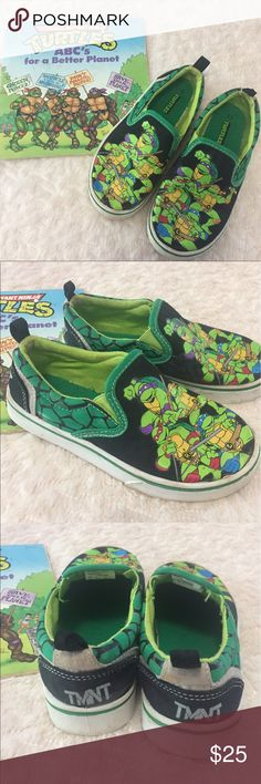 teenage Mutant Ninja Turtles Slip On Shoes & Book TMNT siip on canvas loafers with a TMNT Book. Felt no skid bottoms. Size 13. Preowned , no rips or tears. The Book stresses the ABC's for a better planet. My little son got ahold of a crayon and colored in the book and a few bend edges. Consider it a gift when you purchase the shoes . Check out my closet to save on shipping. Teenage Mutant Ninja Turtles Shoes