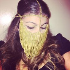 Gold Face Chain Headpiece by LaceLuxxe on Etsy https://www.etsy.com/listing/254884208/gold-face-chain-headpiece