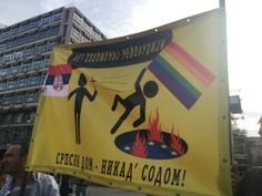 In an orgy of gratuitous anti-gay hate and abuse, Serbian Orthodox Christians, incensed at a gay pride parade in the Serbian capita, Belgrade, held a rally and march to ritually cleanse the streets of 'homosexual contamination'.