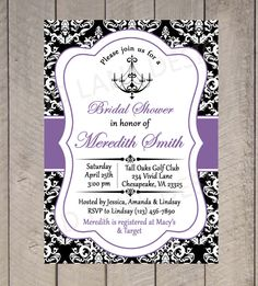 Bridal Shower Printable Invitation - Chandelier, Black White and Purple, Wedding Shower Invitation, Black and White Damask - 351 on Etsy, $18.00