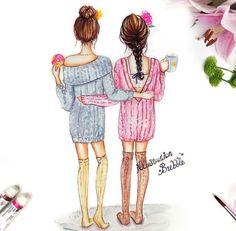 I want that donut friends best friend drawings, drawings of friends, bf Best Friend Drawings, Bff Drawings, Cool Drawings, Drawing Sketches, Drawing Art, Marinette E Adrien, Friends Sketch, Donut Friend, Bubble Art
