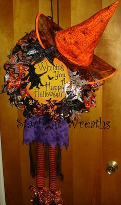 Witching You A Happy Halloween Witch with Hat by StarlightWreaths, $75.00