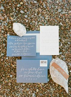 Invitations & Calligraphy by Little Miss Press  | See more on SMP: http://www.StyleMePretty.com/2014/03/11/elegant-beach-wedding-inspiration/ Photography: Sylvie Gil Photography