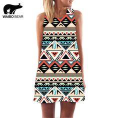 Women Bohemia O-Neck Sleeveless Chiffon National Apparel Triangle Geometric Print Evening Party Tank Dress WOW www.lady-fashion.... #shop #beauty #Woman's fashion #Products