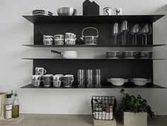 Kitchen Wall Shelves, Ikea Shelves, Black And White Dishes, Seaside Bedroom, Open Shelving, Fixer Upper, Home Kitchens, Kitchen Dining, Living Spaces