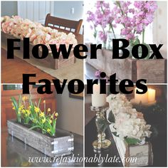 DIY Projects Crafts Home Decor Party Decor Recipes Friday Favorites Seasonal One Room Challenge Everything Else 🙂 Flower Box Centerpiece, Flower Decorations, Centerpieces, Diy Flower Boxes, Diy Flowers, Flower Ideas, Vases, Deco Table, Container Gardening