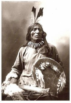 Photo of Fool Bull, (Tatanka Witko), Brule' Souix, Medicine man and warrior, holds his shield he carried into the Battle of Little Big Horn, and was a horse of the Dog Soldier Society.