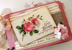 Valentine's Day Mini Album, Valentine Gift for Her, Girlfriend Gift, French Chocolate Album, French Mini Album, Cottage Chic Mini Album