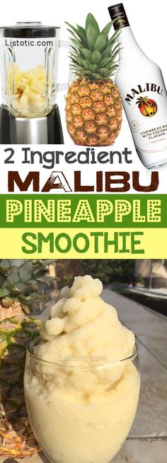 Ingredient Pineapple Soft Serve Recipe (and a spiked version!) A super yummy spiked pineapple smoothie (almost like soft serve) made with just 2 ingredients!A super yummy spiked pineapple smoothie (almost like soft serve) made with just 2 ingredients! Refreshing Drinks, Yummy Drinks, Healthy Drinks, Yummy Food, Healthy Food, Nutrition Drinks, Drinks With Malibu Rum, Nutrition Jobs, Mix Drinks