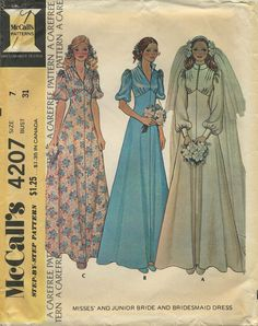 Vintage Bridal / Wedding Dress and Bridesmaid Gown Sewing Pattern | McCall's 4207 | Year 1974 | Size 7 | Bust 31 | Waist 23½ | Hip 33