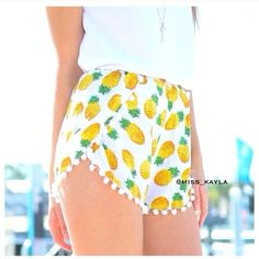 Pineapple Pompom Shorts ➳ Brand New ➳ Pompom Pineapple Shorts ➳ Size Small ➳ Great quality & super cute for summer   ❣ Feel free to ask me questions Shorts