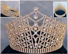 Miss Beauty Pageant Queen Rhinestone Gold full Crown Tiara ~ I love the full round crowns that go all the way around the back with stones - no open places! A true crown!