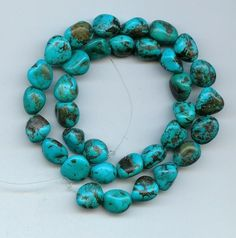 Real Turquoise Nugget Beads Blue Craft Or Jewelry 16 Inch Strand