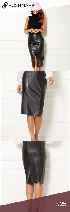 Eva Mendes | Faux Leather Pencil Skirt ...a unique and beautiful pencil skirt made for the professionally fashion-forward female...this skirt can be worn reversed w/ the slit in the front or in the back...NWOT! Eva Mendes Skirts Pencil