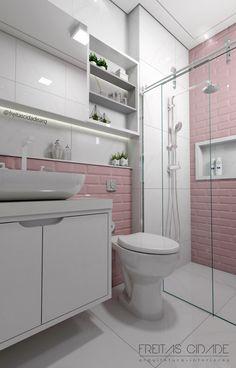 Girl bathroom with pink finish. Project by: Freitas Cidade – Architect … – Marble Bathroom Dreams Bathroom Wall Decor, Bathroom Interior Design, Bathroom Styling, Small Bathroom, Bedroom Colors, Room Decor Bedroom, House Essentials, Bad Styling, Girl Bedroom Designs