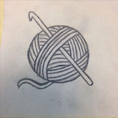 Crochet hook and yarn ball tattoo idea