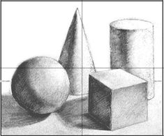 Drawing For Beginners Homework - drawing class - four basic shapes in grid Composition Drawing, Shading Drawing, 3d Art Drawing, Object Drawing, Pencil Art Drawings, Basic Sketching, Basic Drawing, Drawing Lessons, Drawing Tips