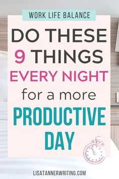Need a better work life balance? This list of 9 productivity hacks are great for moms to add to their night time routine. This helps you stay focused and improve your time management for the the things that matter, like your family and kids. Go ahead and Productive Things To Do, Productive Day, Work Life Balance Tips, Night Time Routine, Evening Routine, Improve Productivity, Productivity Management, Time Management Skills, How To Stop Procrastinating