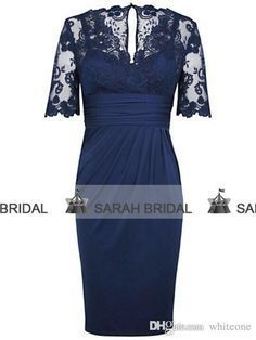 2015 100% Real Picture Lace Bateau Neck Mother of the Bride Dresses Half Sleeves Nay Blue Chiffon with Zipper Knee-Length Mother's Gowns, $106.99 | DHgate.com