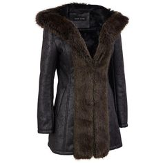 Black Rivet Hooded Distressed FauxLeather Coat w/FauxFur Trim ($180) ❤ liked on Polyvore featuring outerwear, coats, plus size and black rivet
