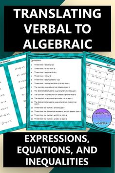 Translating Verbal to Algebraic Expressions, Equations, and Inequalities Math Lesson Plans, Math Lessons, Math Resources, Math Activities, Algebra Equations, Algebra 1, Phrases And Sentences, Algebraic Expressions, Math Words