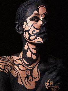 black swirls body art