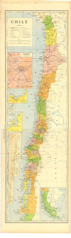 Antique Map of  Chile  1929 by CarambasVintage on Etsy, $35.00