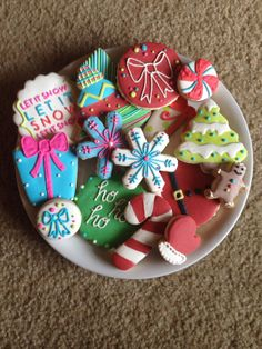 Whimsical Christmas Cookies~         By Cookie Couture, candy cane, Christmas present, mittens, Christmas Tree, snowflake