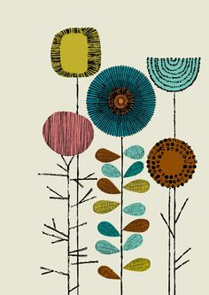 Embroidery Flowers Multi Bright Print by Eloise Renouf  on Little Paper Planes