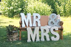 mr and mrs galvanized letters on a bench!
